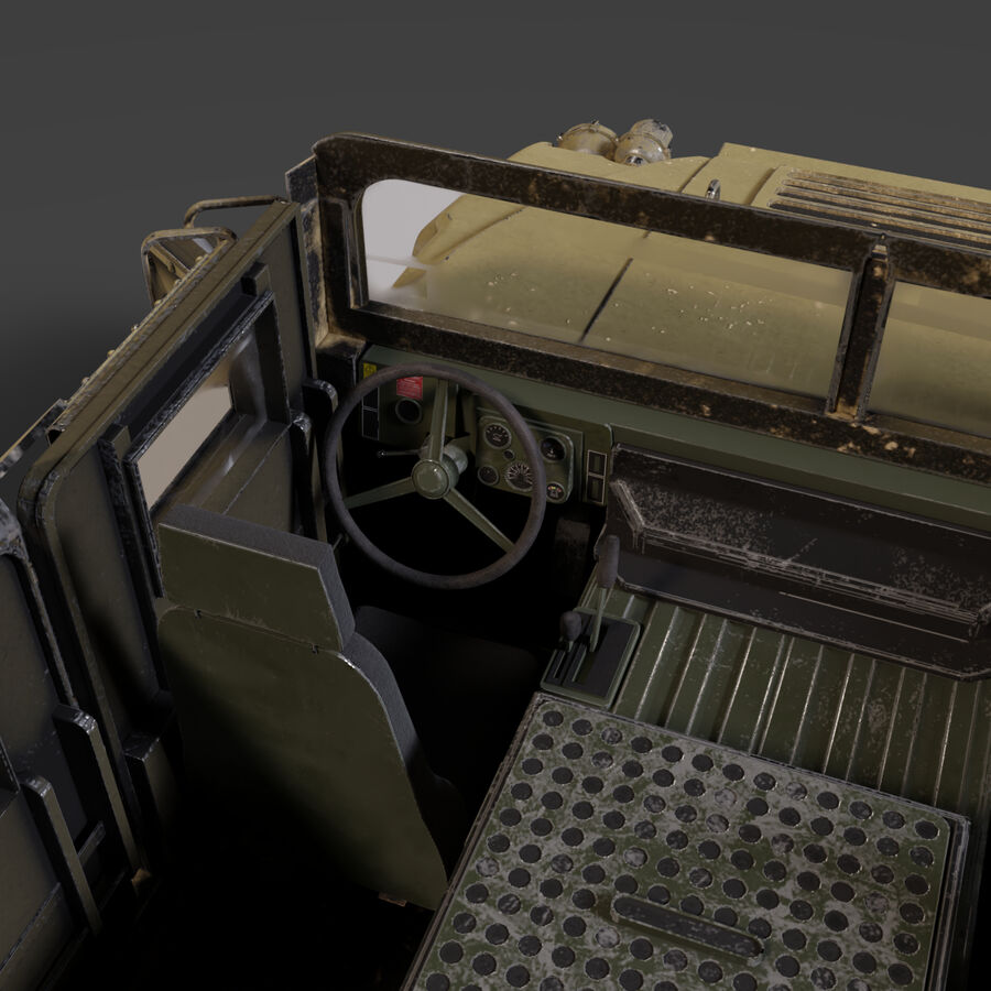 Humvee (HMMWV) with interior royalty-free 3d model - Preview no. 10