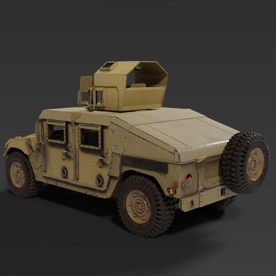 Humvee (HMMWV) with interior royalty-free 3d model - Preview no. 2
