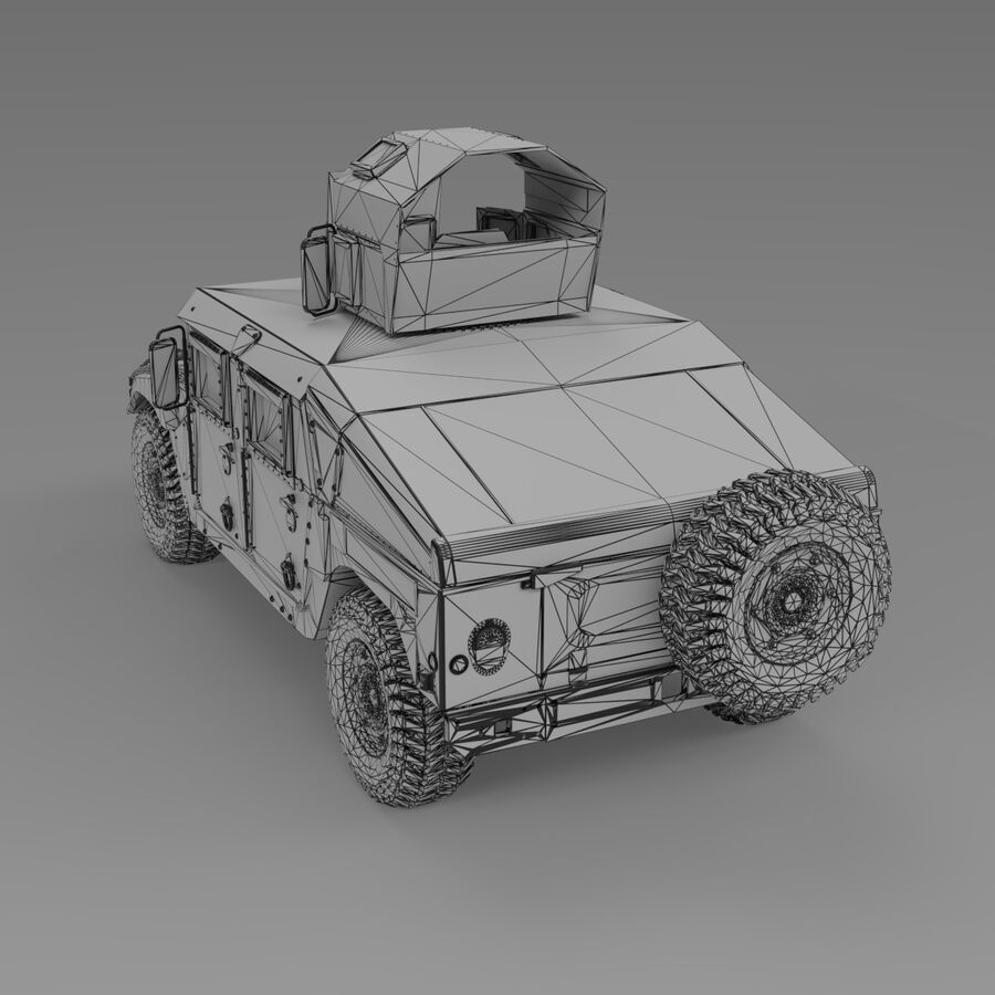 Humvee (HMMWV) with interior royalty-free 3d model - Preview no. 14