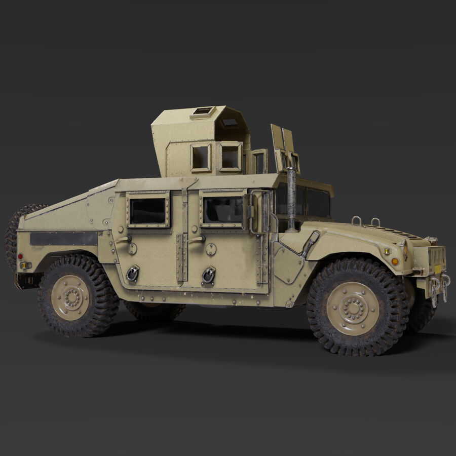Humvee (HMMWV) with interior royalty-free 3d model - Preview no. 3