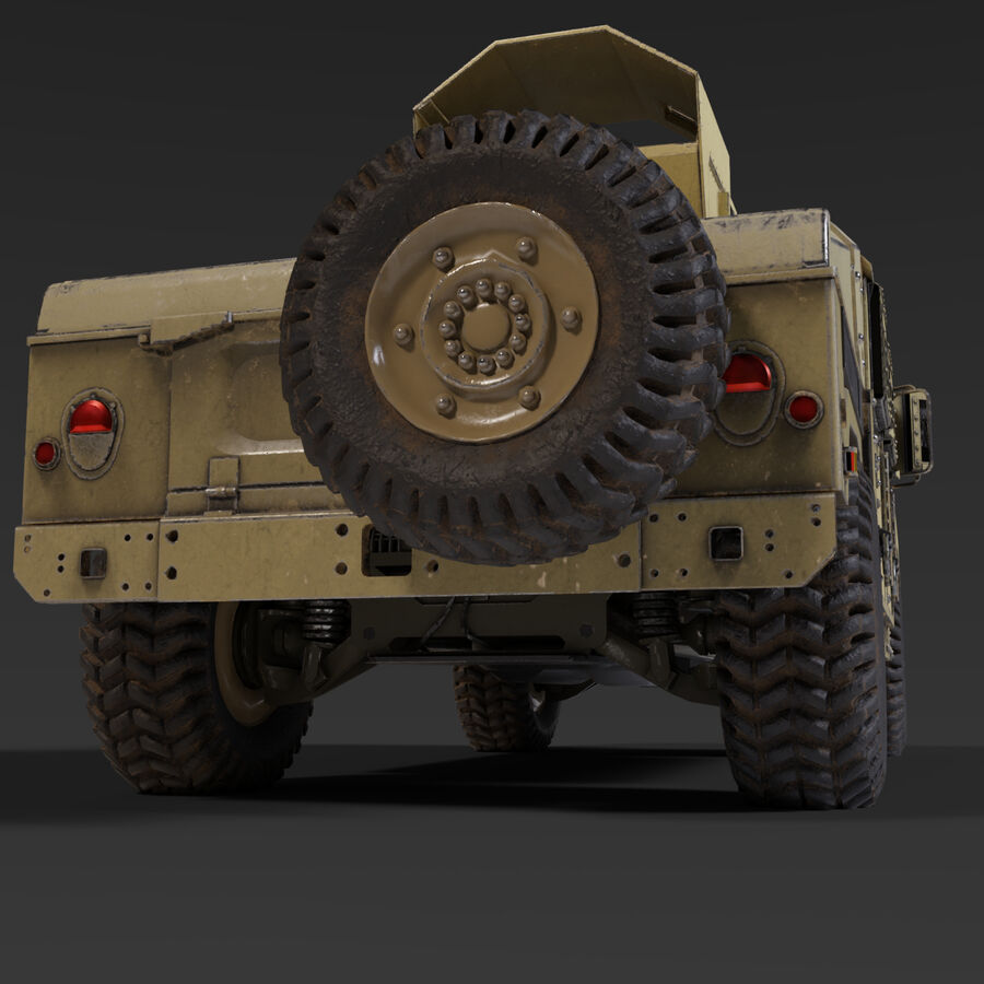 Humvee (HMMWV) with interior royalty-free 3d model - Preview no. 6