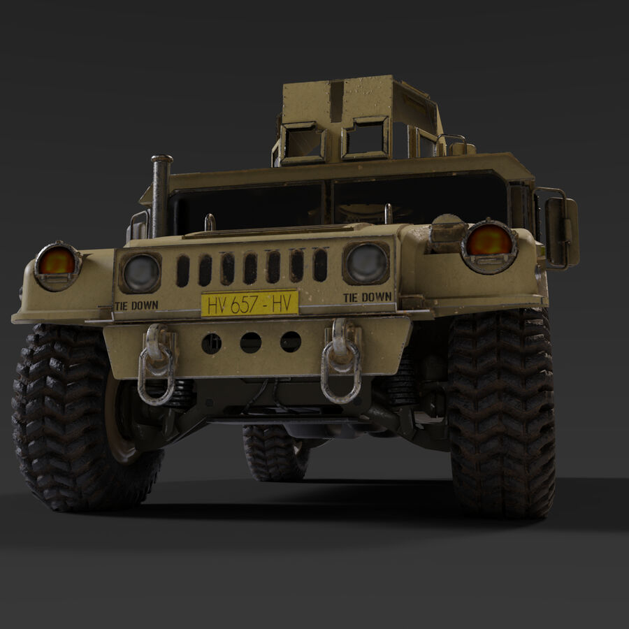 Humvee (HMMWV) with interior royalty-free 3d model - Preview no. 5
