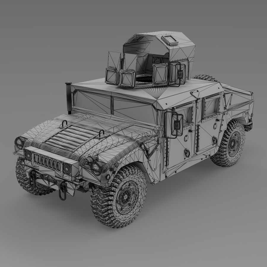 Humvee (HMMWV) with interior royalty-free 3d model - Preview no. 12