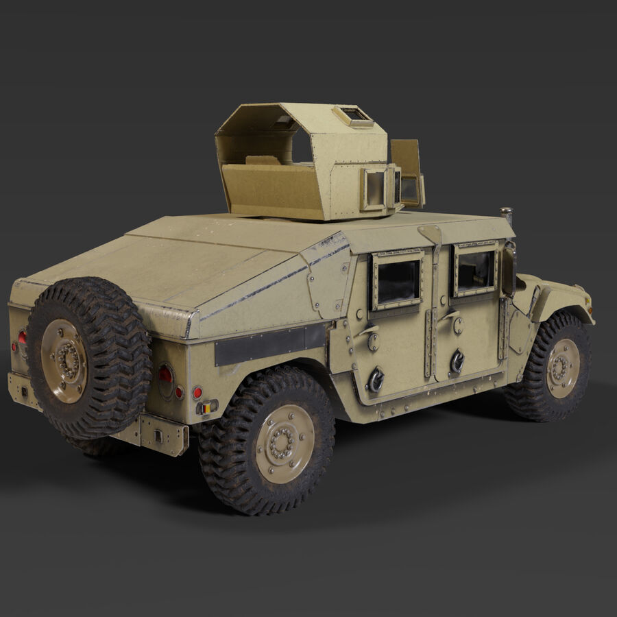 Humvee (HMMWV) with interior royalty-free 3d model - Preview no. 4