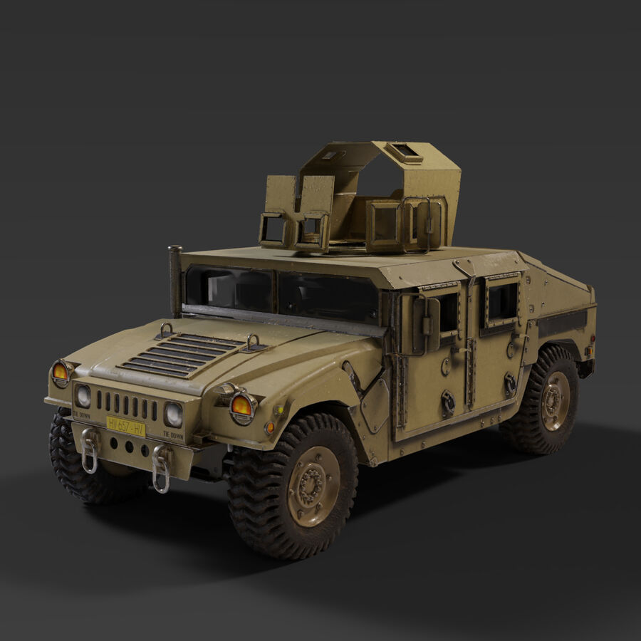 Humvee (HMMWV) with interior royalty-free 3d model - Preview no. 1