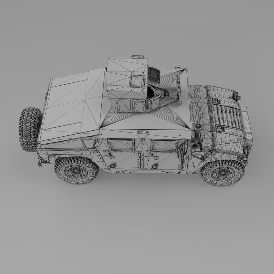 Humvee (HMMWV) with interior royalty-free 3d model - Preview no. 13