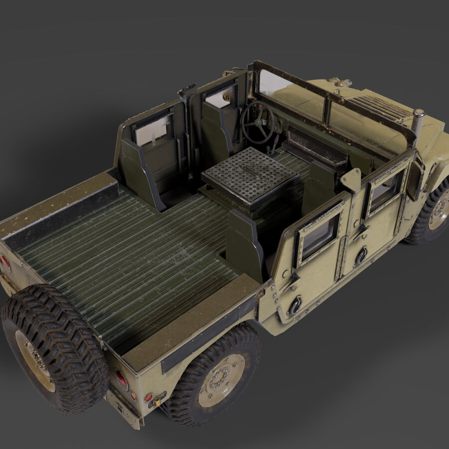 Humvee (HMMWV) with interior royalty-free 3d model - Preview no. 8