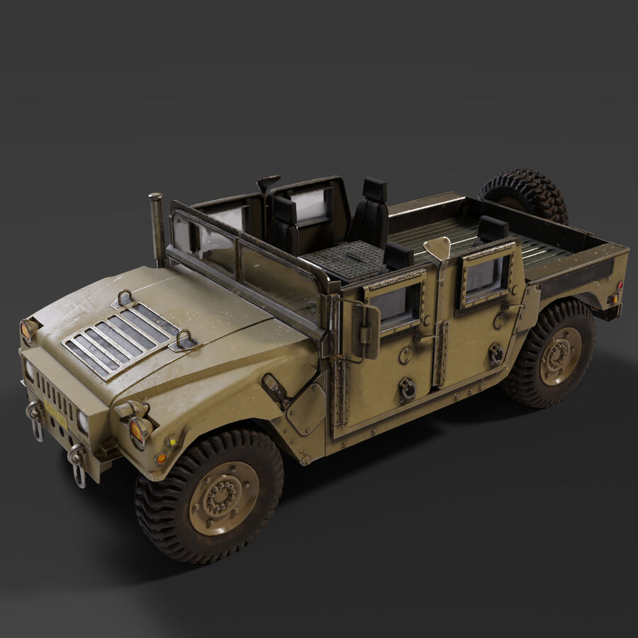 Humvee (HMMWV) with interior royalty-free 3d model - Preview no. 9
