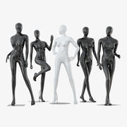 Collection of five faceless female mannequins 34 3d model