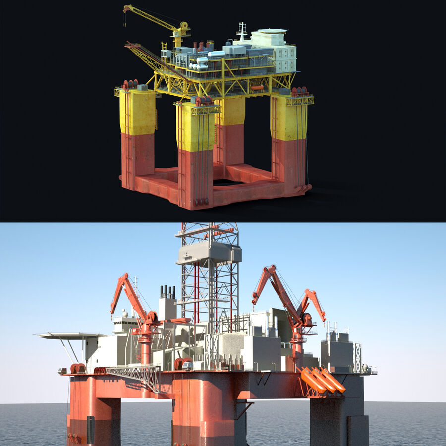 Oil Production Platform Set royalty-free 3d model - Preview no. 2