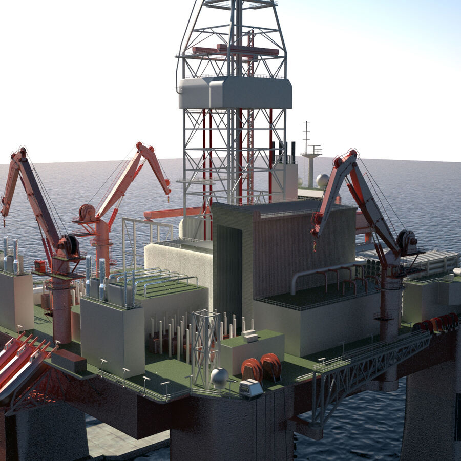 Oil Production Platform Set royalty-free 3d model - Preview no. 38