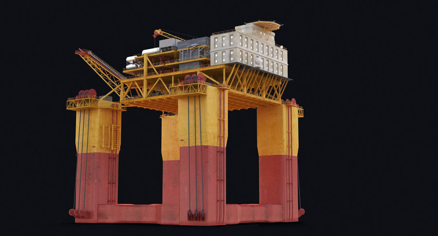 Oil Production Platform Set royalty-free 3d model - Preview no. 8