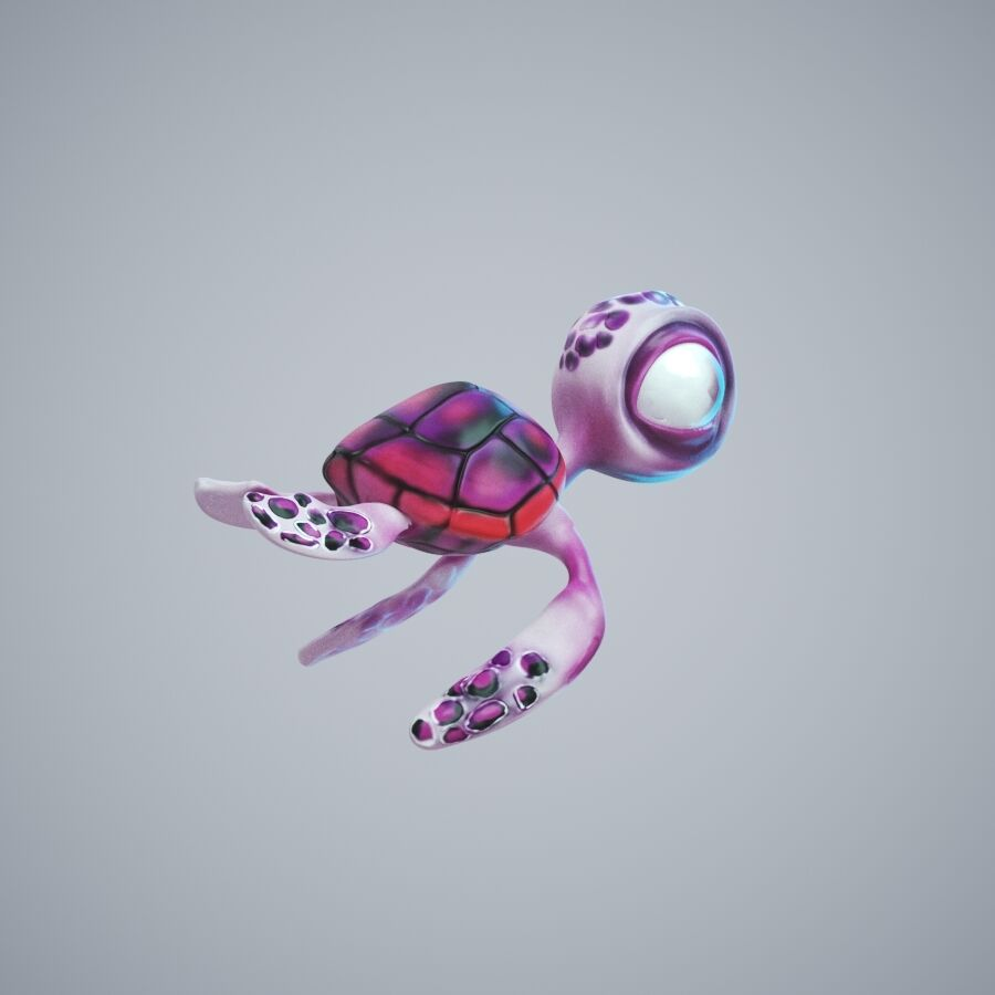 Turtle Cute royalty-free 3d model - Preview no. 2