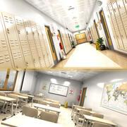 Szkolny korytarz i klasa 3d model