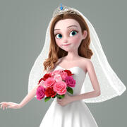 Cartoon Bride Rigged 3d model