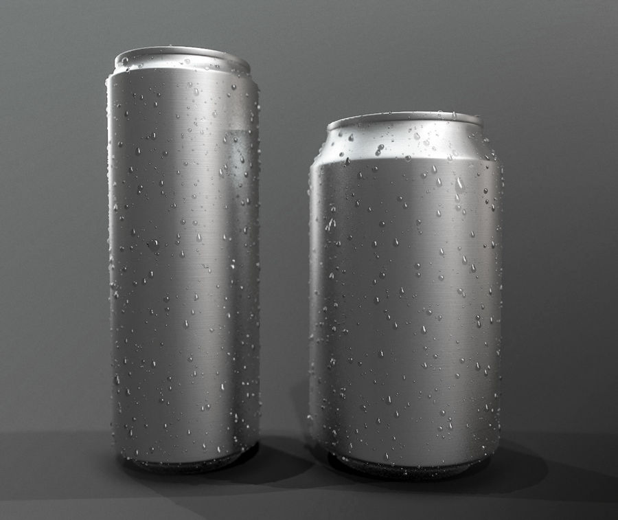 Sodacan 250 ml + 330 ml z kropelkami royalty-free 3d model - Preview no. 5
