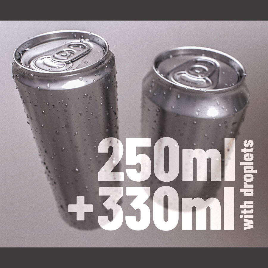 Sodacan 250 ml + 330 ml z kropelkami royalty-free 3d model - Preview no. 4