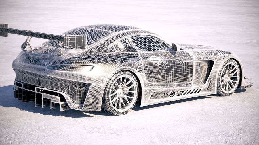 Mercedes AMG GT3 2020 royalty-free 3d model - Preview no. 26