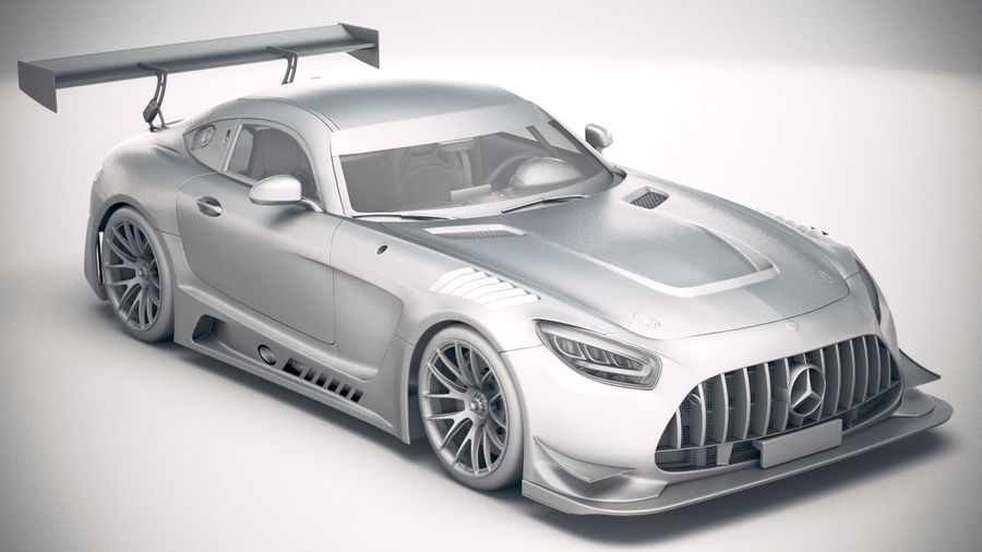Mercedes AMG GT3 2020 royalty-free 3d model - Preview no. 22
