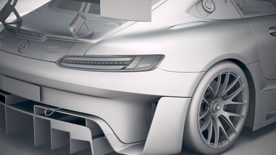 Mercedes AMG GT3 2020 royalty-free 3d model - Preview no. 20