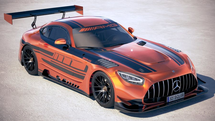 Mercedes AMG GT3 2020 royalty-free 3d model - Preview no. 12