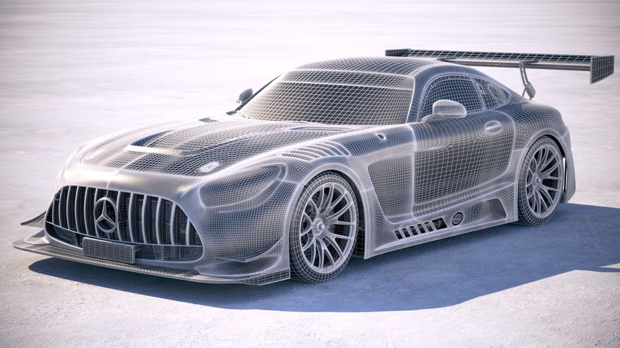 Mercedes AMG GT3 2020 royalty-free 3d model - Preview no. 25