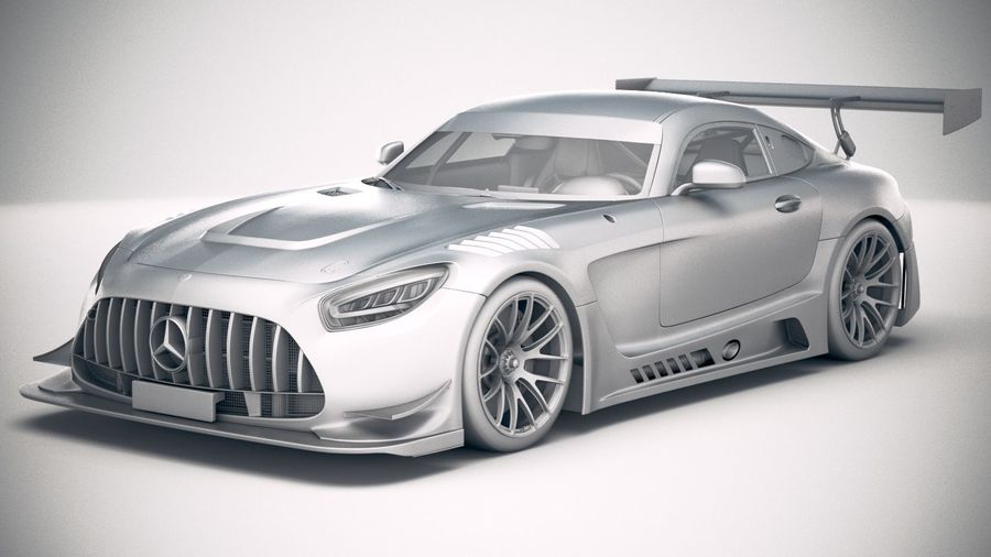 Mercedes AMG GT3 2020 royalty-free 3d model - Preview no. 18