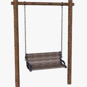 Wood Swing Bench 3d model