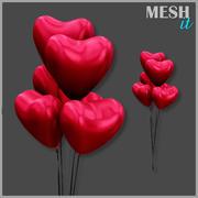 Heart Balloons 3d model