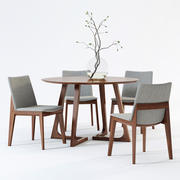 Fuchsia Dining Chair & Cress Round Dining Table 3d model