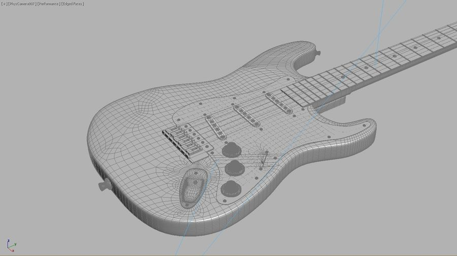 Gitarre royalty-free 3d model - Preview no. 6