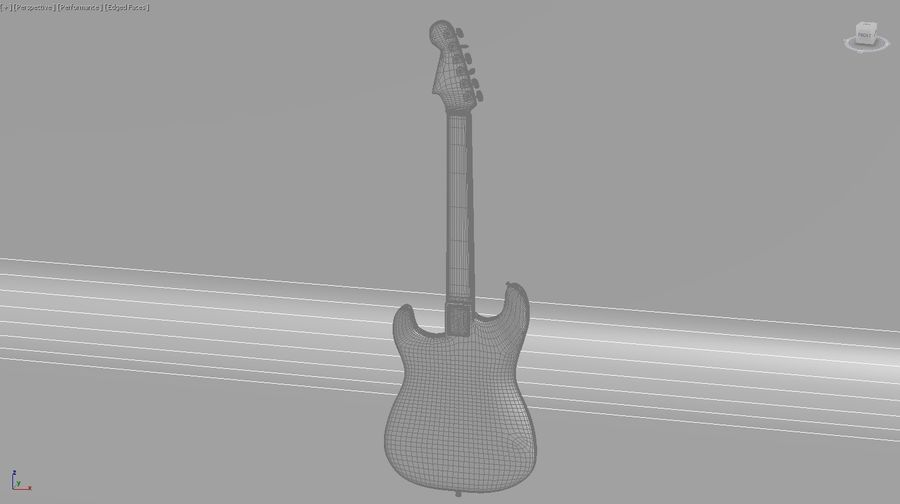 Guitare royalty-free 3d model - Preview no. 7