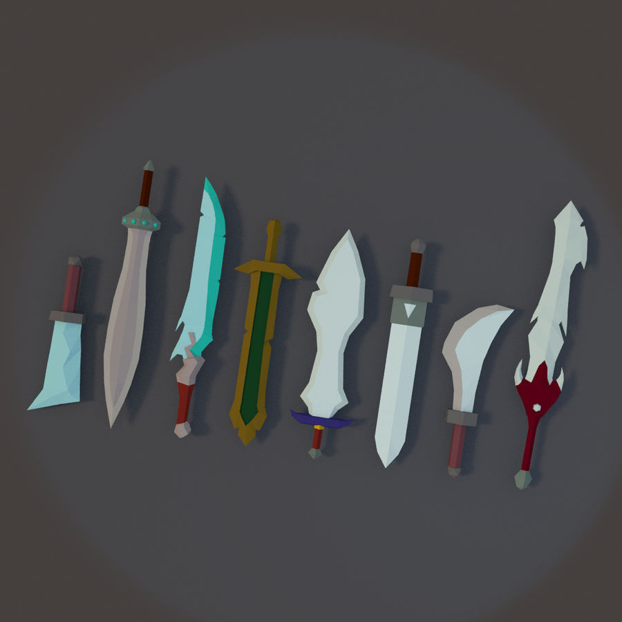 Low Poly Sword Pack royalty-free 3d model - Preview no. 1