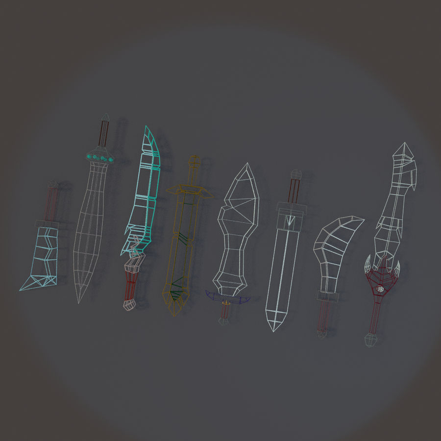 Low Poly Sword Pack royalty-free 3d model - Preview no. 2