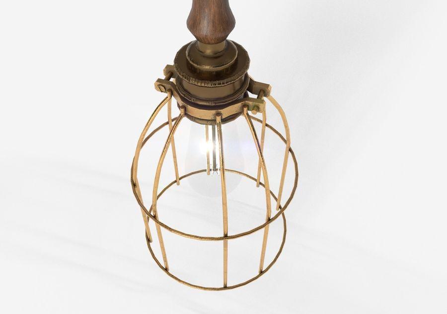 Lâmpada de gaiola com lâmpada vintage royalty-free 3d model - Preview no. 9