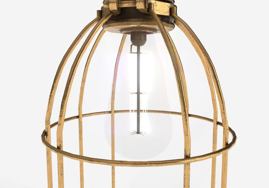Lâmpada de gaiola com lâmpada vintage royalty-free 3d model - Preview no. 8