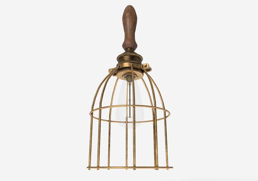 Lâmpada de gaiola com lâmpada vintage royalty-free 3d model - Preview no. 10