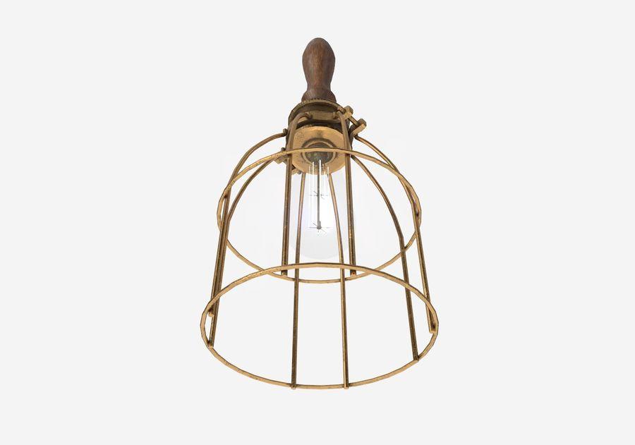 Lâmpada de gaiola com lâmpada vintage royalty-free 3d model - Preview no. 7