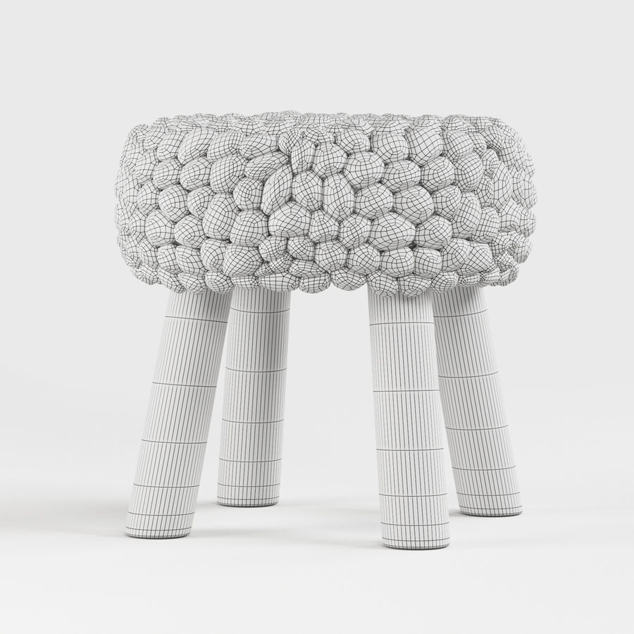 Chunky Grey Felted Stool royalty-free 3d model - Preview no. 5