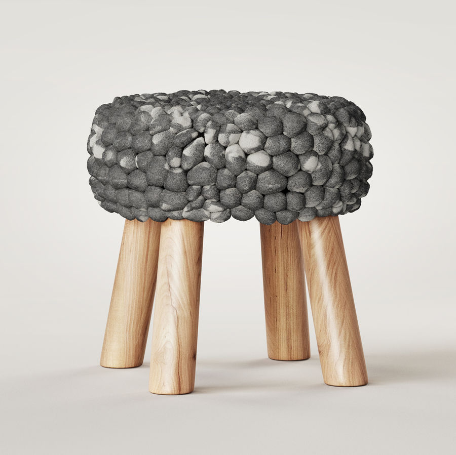 Chunky Grey Felted Stool royalty-free 3d model - Preview no. 4