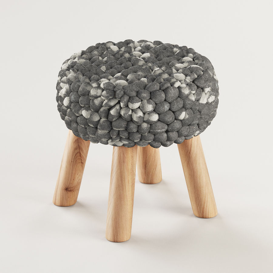 Chunky Grey Felted Stool royalty-free 3d model - Preview no. 2