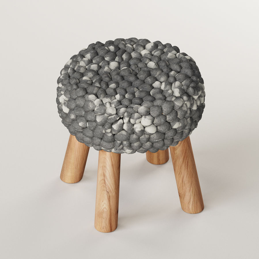 Chunky Grey Felted Stool royalty-free 3d model - Preview no. 3