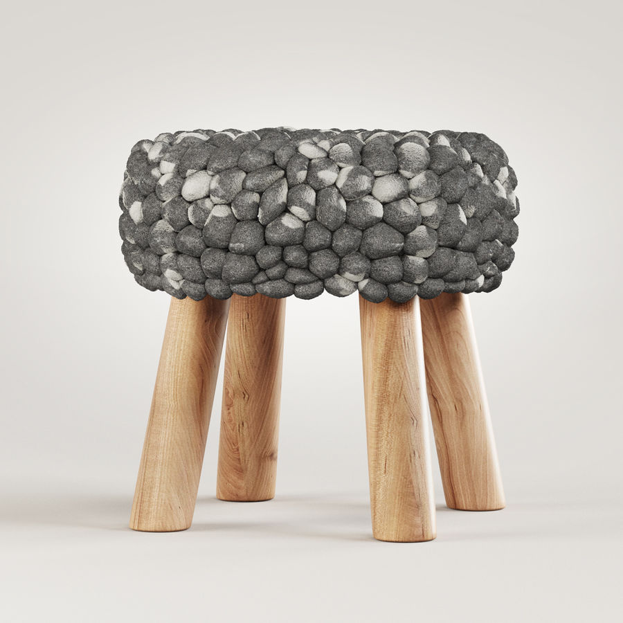 Chunky Grey Felted Stool royalty-free 3d model - Preview no. 1