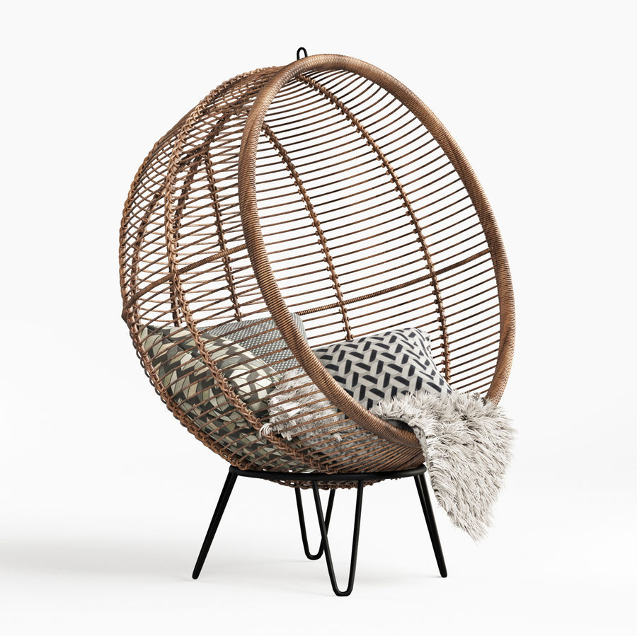 Yuvarlak Rattan Koza Sandalye royalty-free 3d model - Preview no. 4