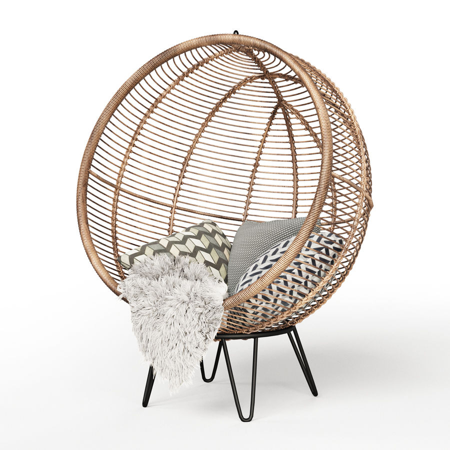 Yuvarlak Rattan Koza Sandalye royalty-free 3d model - Preview no. 1
