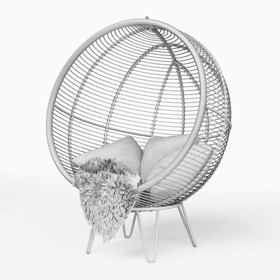 Rotting Rotting Cocoon Chair royalty-free 3d model - Preview no. 5