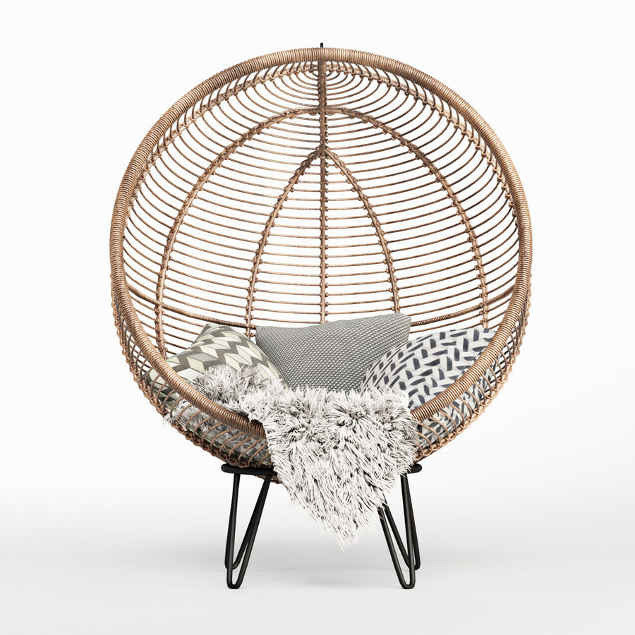 Yuvarlak Rattan Koza Sandalye royalty-free 3d model - Preview no. 2