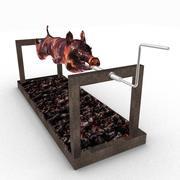 roasted Pig on spit 3d model