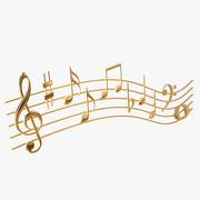Gouden muziek notities golven 3d model