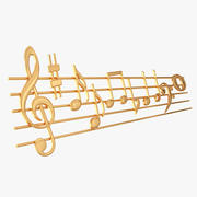 Goldene Musik-Daube und Anmerkungen 3d model